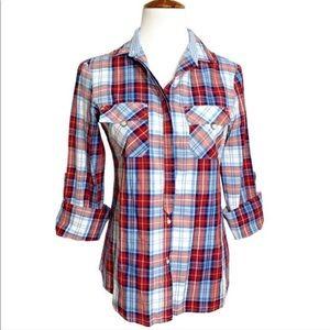 Zara Plaid Roll Cuff Buttondown Blouse